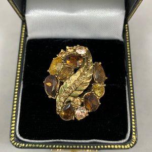 Monet gold tone smoky quartz rhinestone ring 8